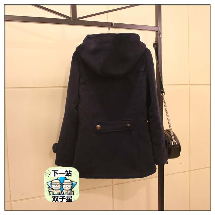 清仓包邮韩版小熊维尼纯色牛角扣连帽口袋贴图中短款毛呢大衣外套
