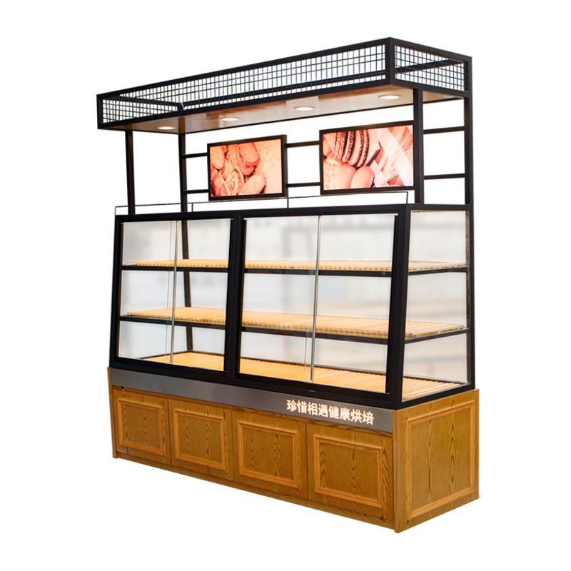 蛋糕店展示柜铁艺烤漆中岛柜实木货架蛋糕柜边柜面包柜面包展示柜