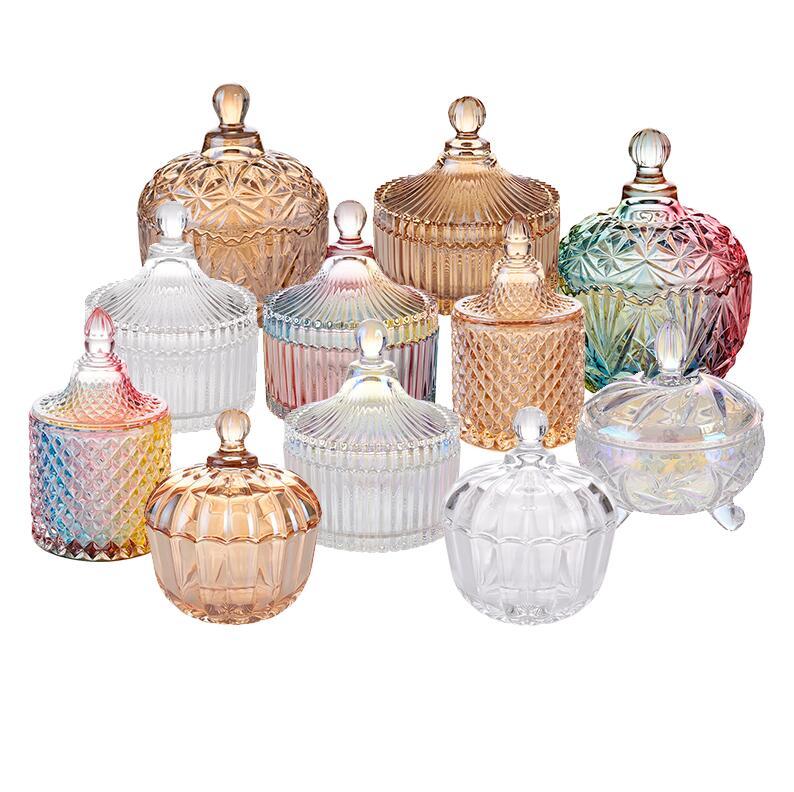 彩色带盖玻璃糖果罐欧式储物罐摆件创意装饰收纳盒透明玻璃调味罐
