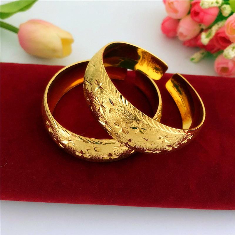 时尚网红结婚龙凤手镯铜镀金镯子仿沙金满天星手镯婚庆手镯饰品女