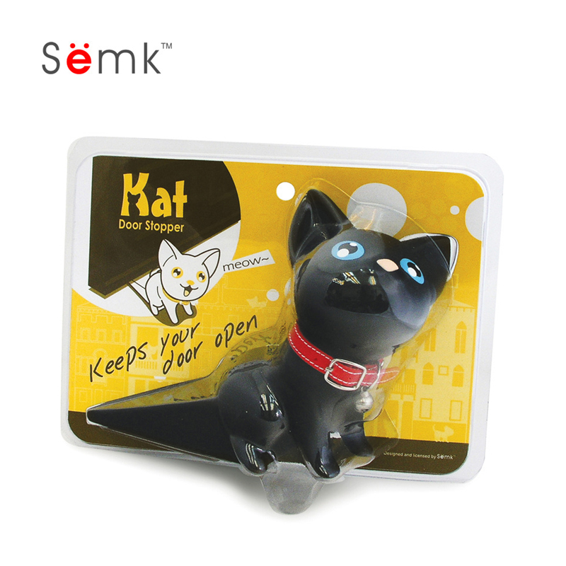 semk正品卡通小猫咪创意门挡门塞防夹手 可爱家居桌面摆件装饰品