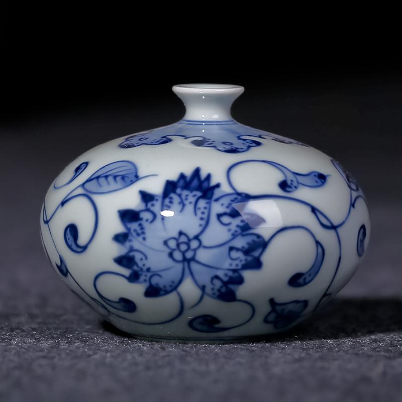景德镇陶瓷 手绘小花瓶 摆件迷你装饰艺术花插新中式家居茶几插花