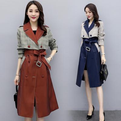 春撞色拼接西装领腰带收腰中长款风衣女聚酯纤维百搭修身格子外套