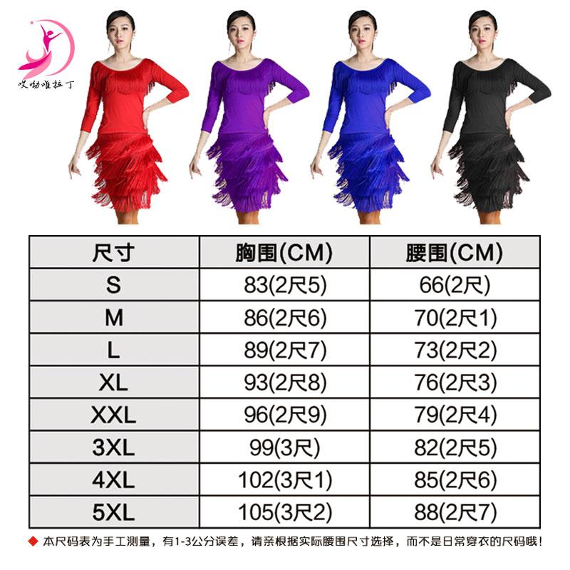 春秋拉丁舞服装女成人长袖套装广场舞跳舞连衣裙拉丁练习服流苏裙