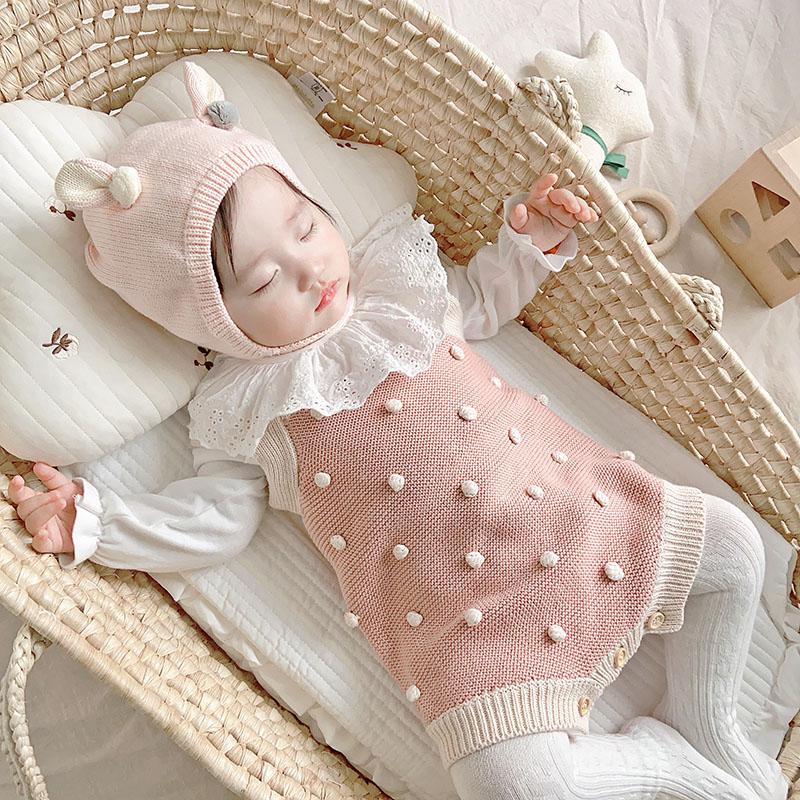 婴儿衣服春秋冬装 ins针织毛衣背带裤洋气套装宝宝纯棉连体衣爬服