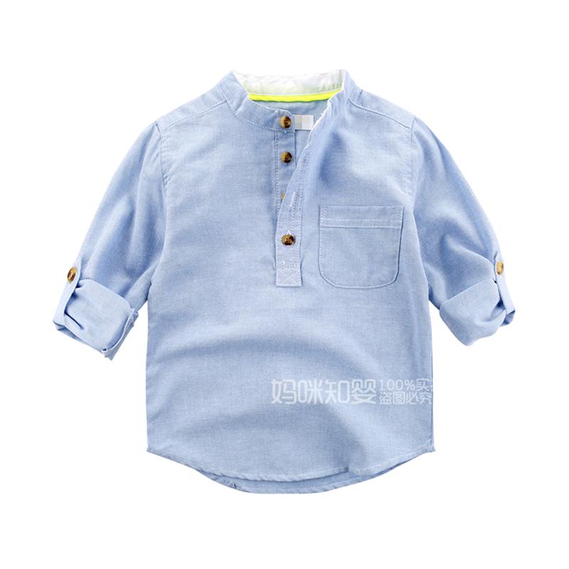 童装男童立领长袖蓝色衬衫纯棉 中小儿童可爱套头衬衣宝宝薄上衣
