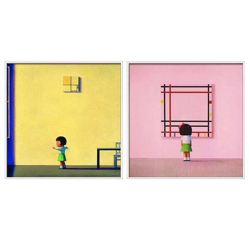 現代裝飾畫辦公室掛畫當代前衛藝術油畫版畫 劉野 中午的蒙德里安