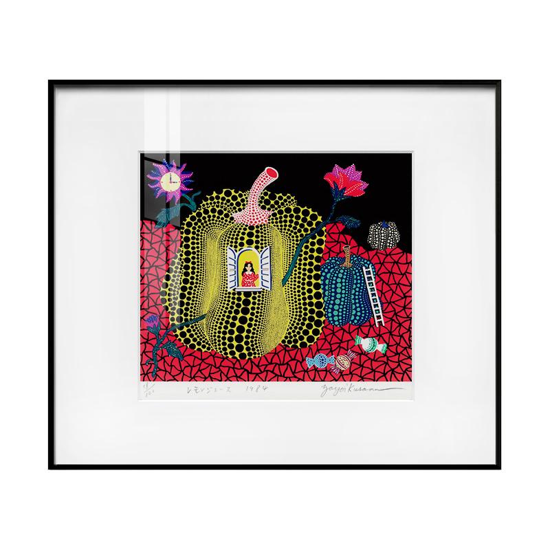 現代簡約裝飾畫 日本藝術抽象畫 草間彌生簽名限量版畫  南瓜女孩