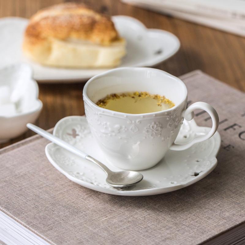 陶趣居 陶瓷咖啡杯碟 下午茶組合浮雕蕾絲白色馬克杯點心鏤空茶具