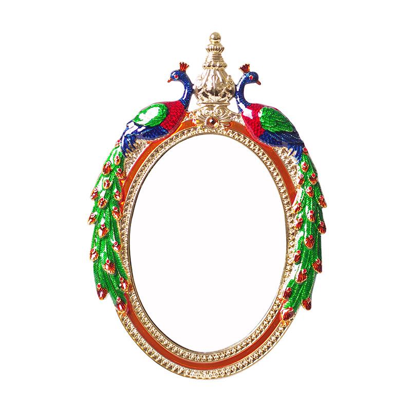 复古欧式镜子化妆镜台式公主镜梳妆镜女士台面镜结婚红色台镜高清
