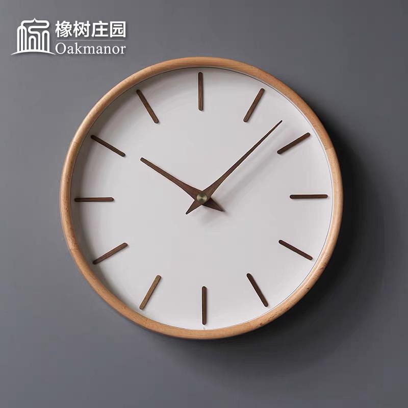 北欧实木极简挂钟客厅家用钟饰静音钟表时尚个姓现代轻奢创意时钟