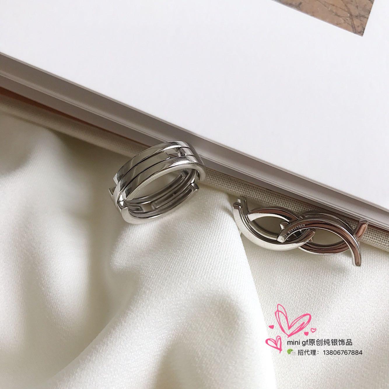 纯银可变形设计戒指指环时尚气质百搭冷淡风潮酷 G.f.925