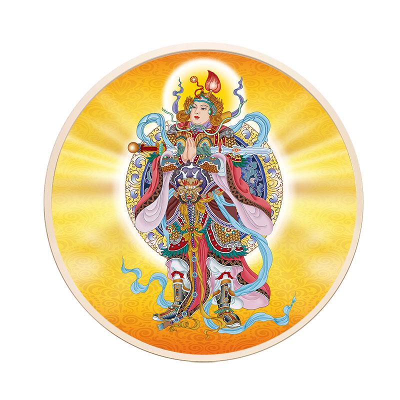 三寶佛畫像釋迦牟尼佛像藥師佛阿彌陀佛圓形裝飾畫文殊像觀音掛畫