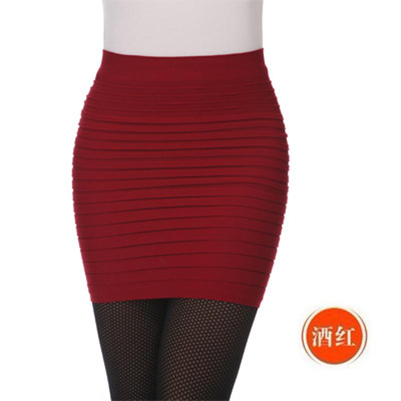 糖果色短裙包臀裙大码A字半身裙女高腰显瘦弹力百搭一步裙包裙