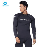 Korea AquaPlay diving suit male split long-sleeved sunscreen snorkeling suit black skinny slim surfing jellyfish suit