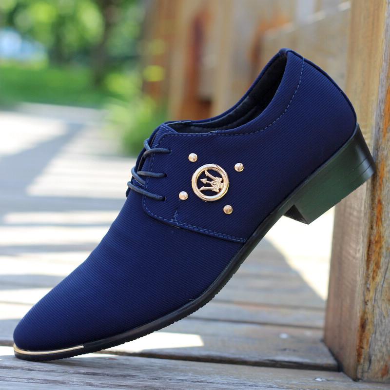男士尖頭皮鞋韓版英倫商務休閒鞋白藍色男鞋網布髮型師潮鞋透氣鞋