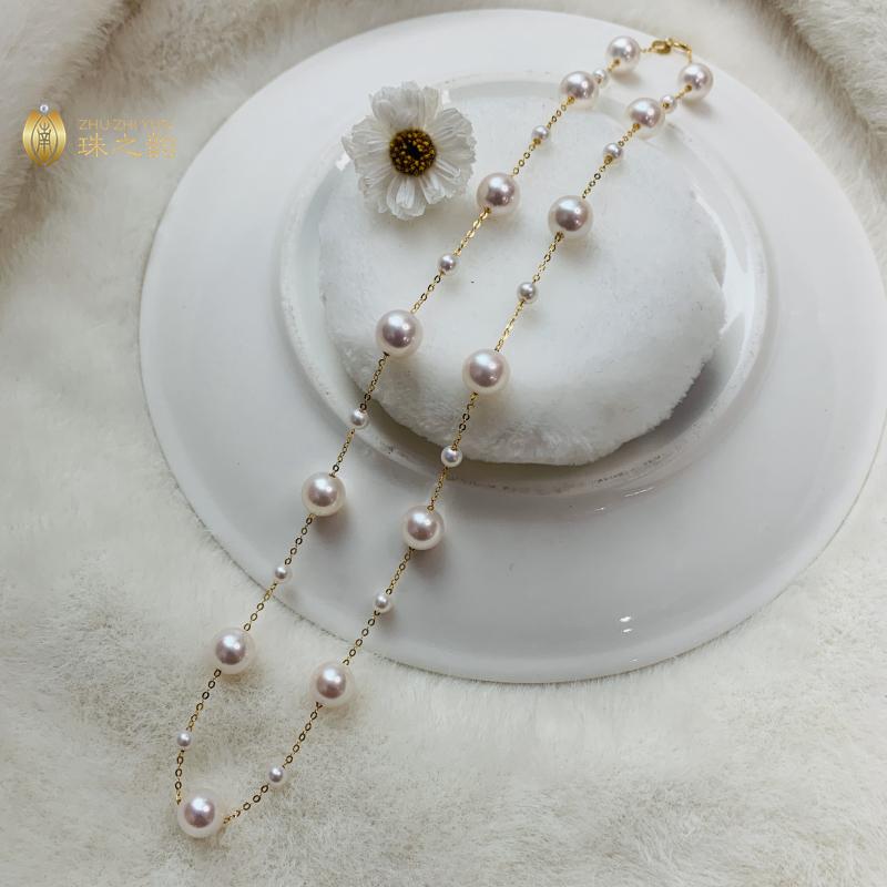 进口日本akoya天然海水珍珠满天星项链18k金锁骨链大小珠