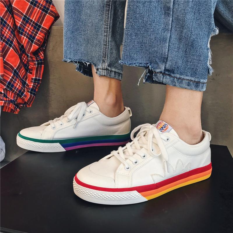 板鞋 ins 男鞋彩虹鸳鸯帆布鞋男女情侣韩版低帮小白鞋子男潮鞋百搭