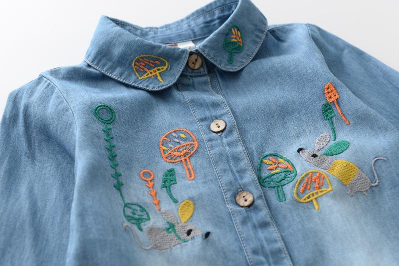 2018春女童装牛仔长袖衬衫儿童纯棉衬衣宝宝翻领老鼠蘑菇刺绣上衣