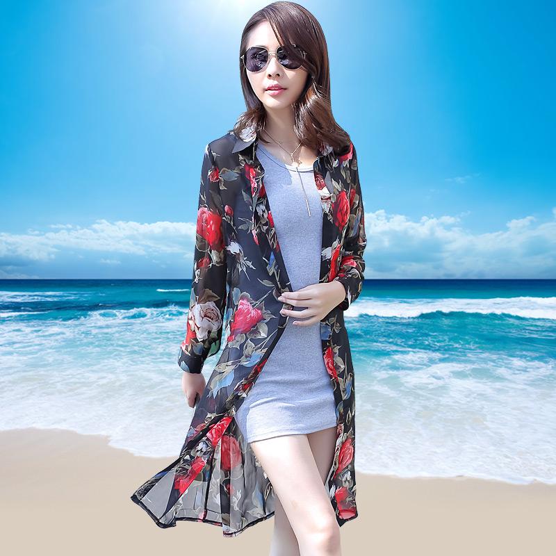 夏季柔美雪纺长衫长袖防晒衣女中长款沙滩开衫薄外套时尚印花外搭