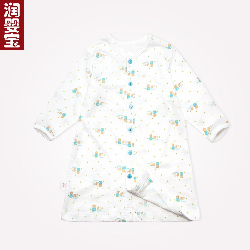 潤嬰寶 夏裝嬰兒幼兒男女寶寶純棉開身圓領長袖睡袍睡衣451521