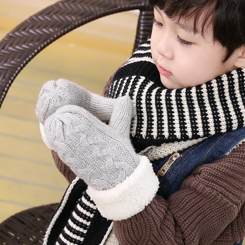 冬季韩版可爱小孩儿童针织毛线手套男女宝宝中小童加绒新年大红色