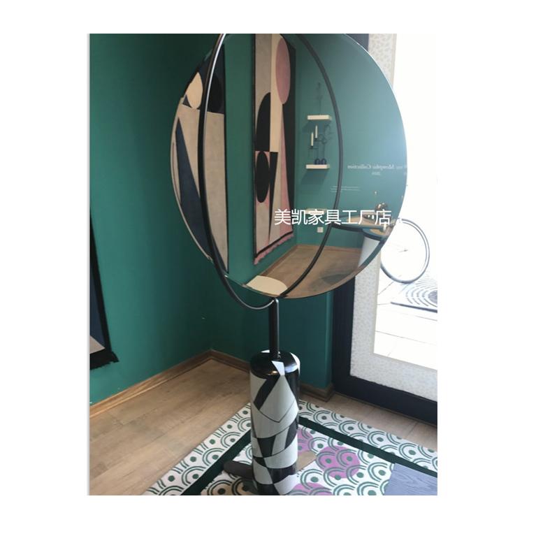 轻奢时尚大理石落地镜化妆镜穿衣镜 创意个性可旋转圆形镜子