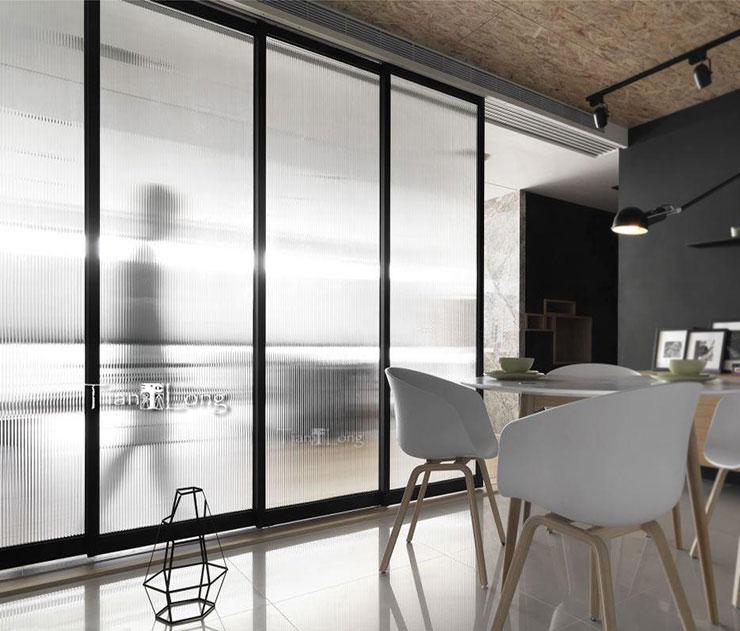 长虹瓦楞波浪立体艺术花玻璃隔断细黑框玄关屏风钢化工艺玻璃定制