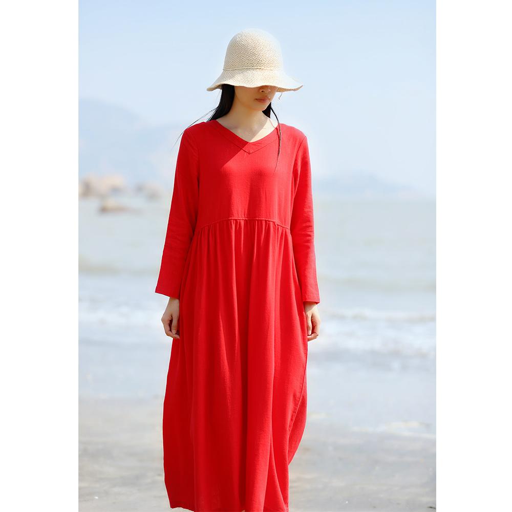 红色棉麻连衣裙女长袖中长款宽松文艺大码亚麻长裙复古夏旅行文艺