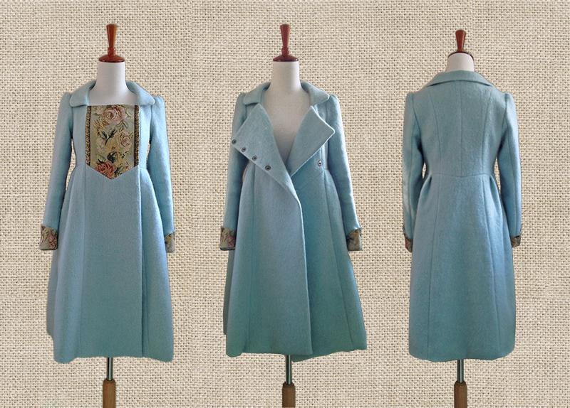 原创订制 初梦 温柔复古女神气质马海毛修身呢子超长大衣外套粉蓝