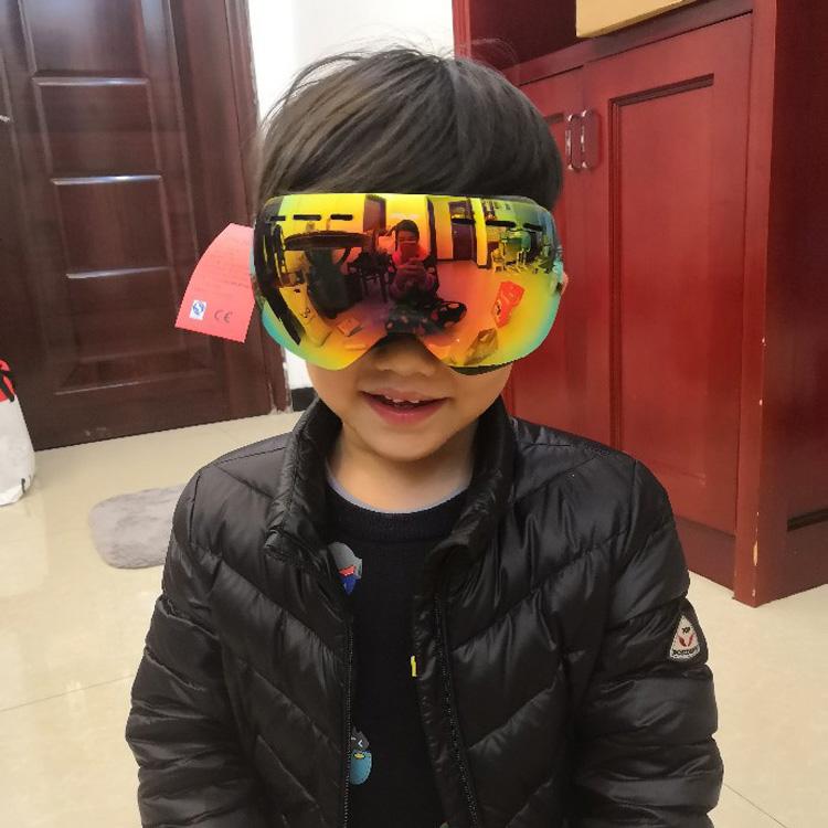 正品POLISI儿童双层滑雪镜偏光高清防雾防紫外线小童护目滑雪眼镜