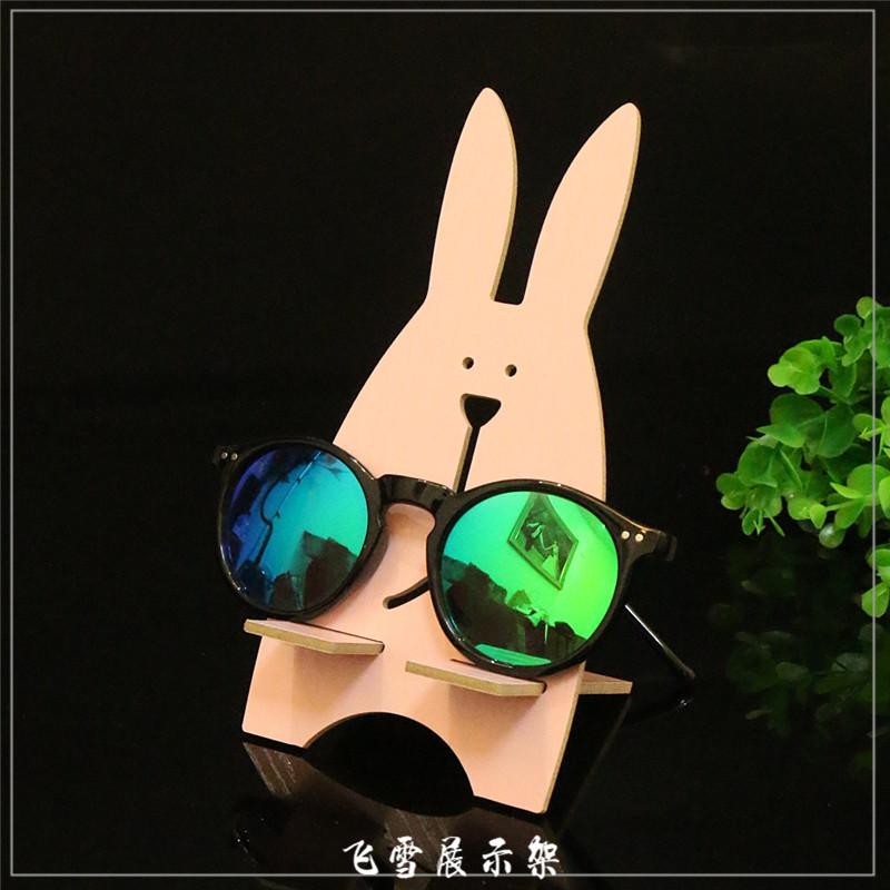 超萌创意木质眼镜展示架卡通儿童眼镜道具太阳镜收纳陈列架小摆件