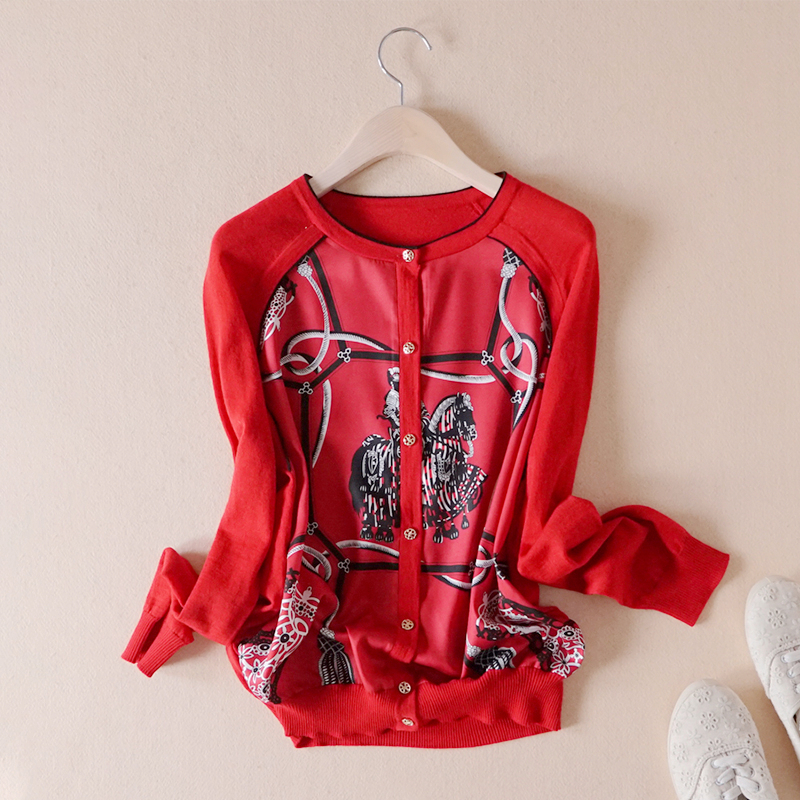 小清新减龄缎面印花双拼长袖红色针织宽松薄款开衫春秋新