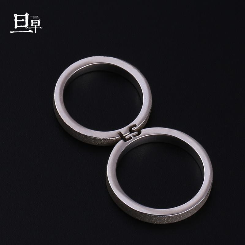 原创设计字母拼接情侣戒指纯银一对定制对戒刻字小众男女异地礼物