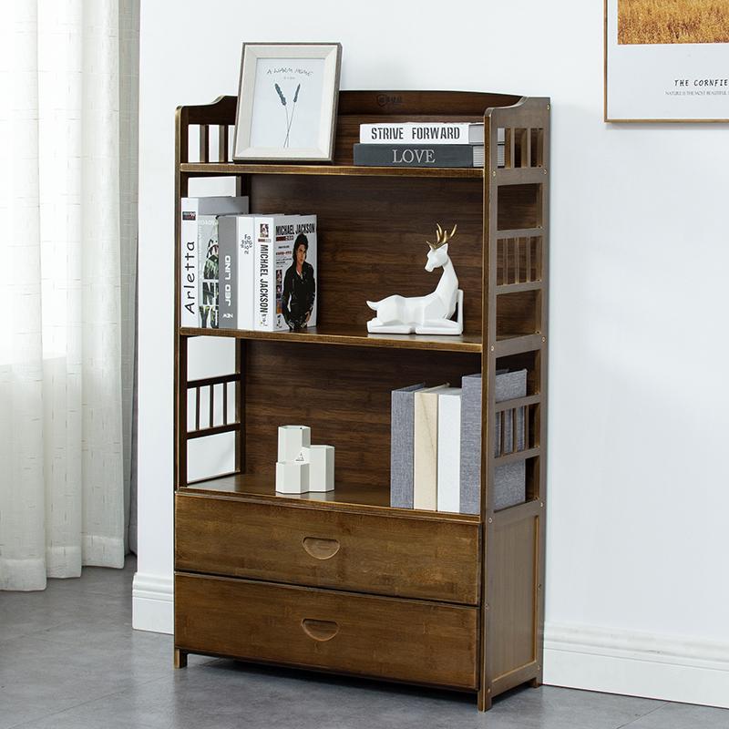 楠竹书架落地现代多层置物架简约收纳架家用书柜环保绿色