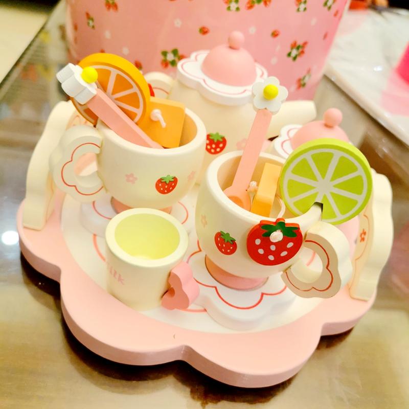 女孩六一礼物仿真茶具茶壶儿童过家家厨房套装下午茶蛋糕木制玩具