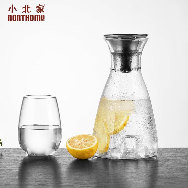 小北家加厚丹麥SOLO涼水壺冷水壺耐熱玻璃大容量檸檬果汁壺防側漏