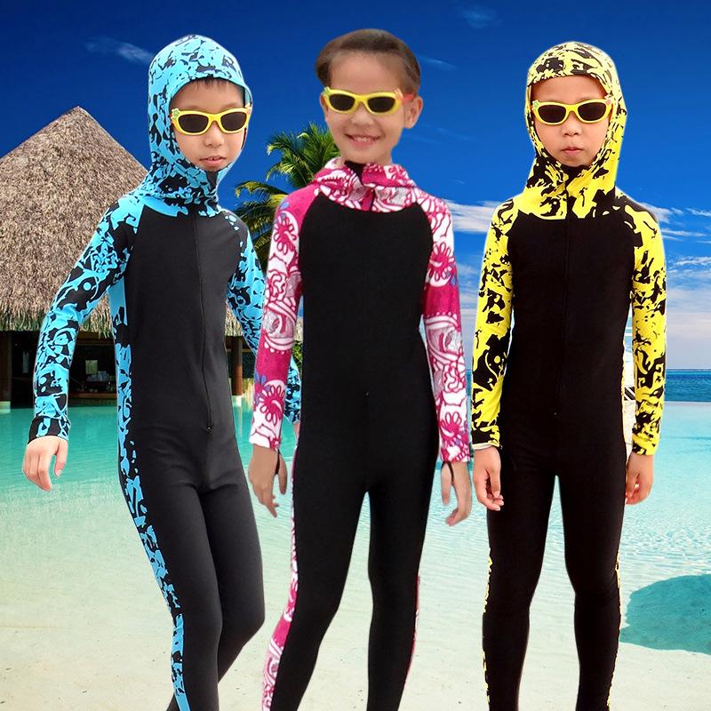鲨巴特潜水服女连体防晒长袖泳衣情侣套装水母衣男大码浮潜服儿童