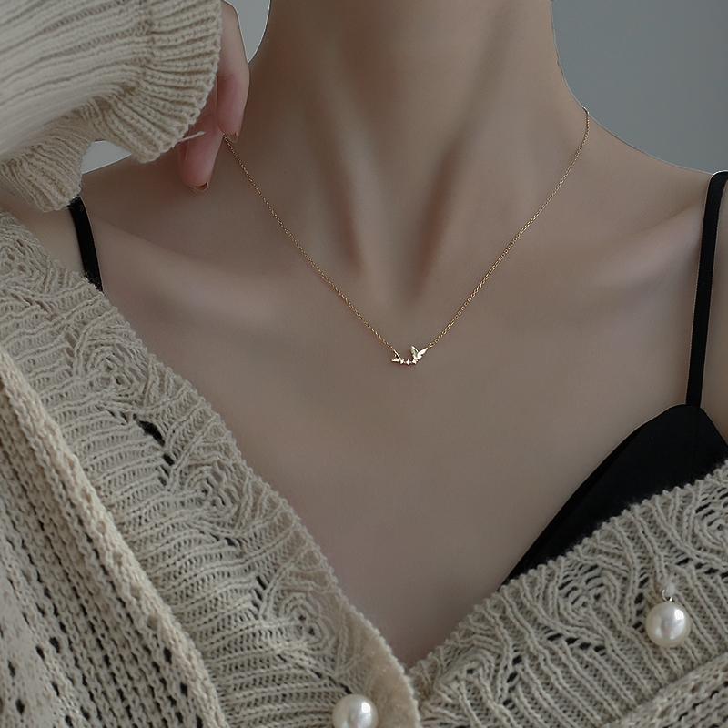 925纯银项链女夏2021年新款小众轻奢设计感ins冷淡风简约锁骨链