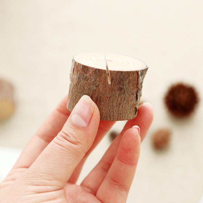 原生态大自然创意简约树桩木质便签夹留言座 文艺名片照片留言夹