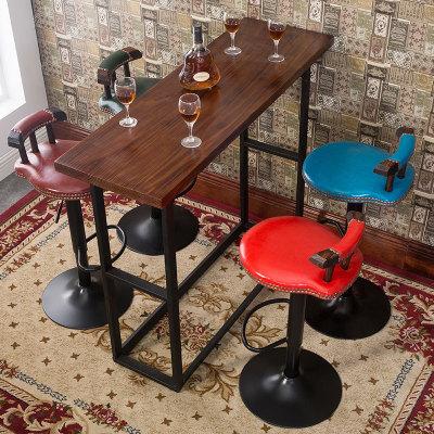 美式酒吧椅复古实木吧台椅升降椅家用高脚凳高凳旋转吧凳靠背椅子