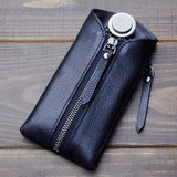 First layer cowhide leather creative key case large capacity waist hanging car keychain men and women zipper coin purse