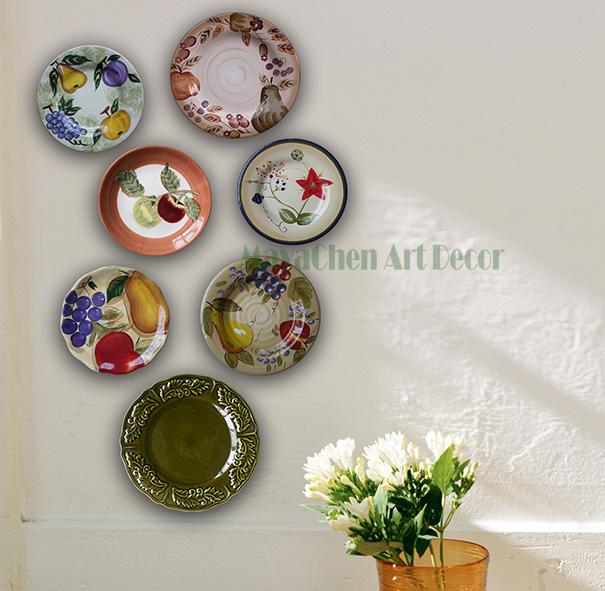 北欧地中海田园美式陶瓷盘挂盘装饰盘餐厅设计师创意艺术盘子墙饰