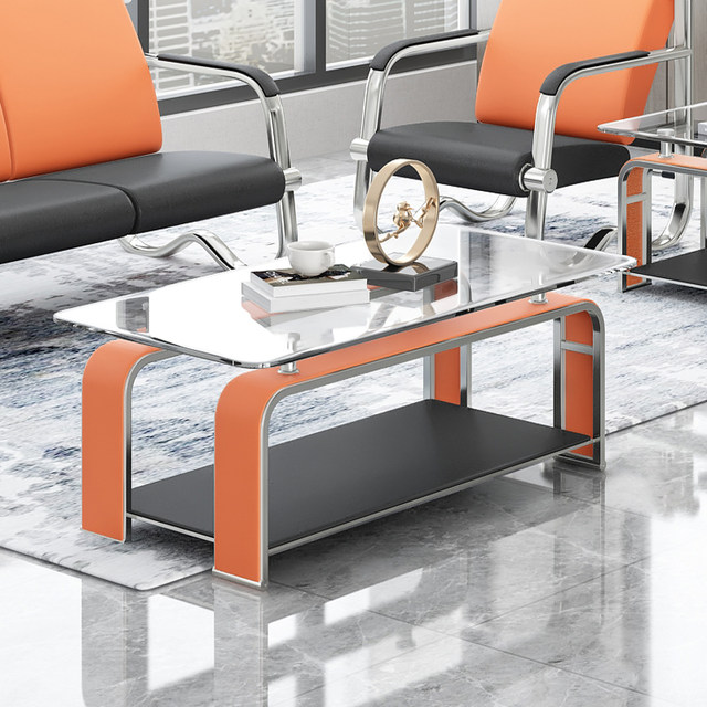 Office sofa coffee table combination set business simple office reception coffee table tempered glass hardware coffee table