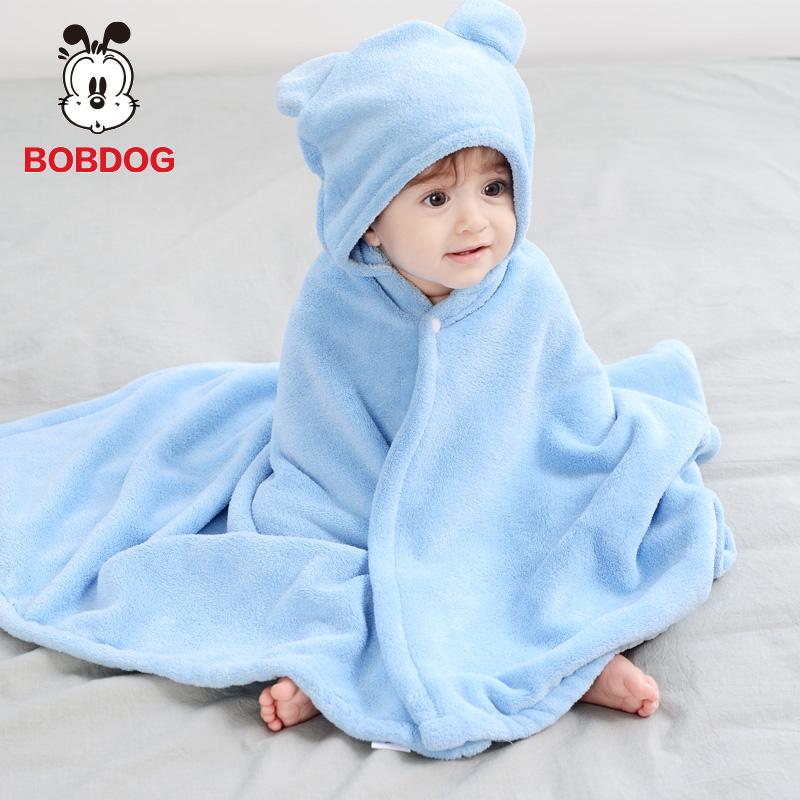 巴布豆婴儿浴巾带帽儿童宝宝新生洗澡浴袍比纯棉吸水斗篷连帽浴巾