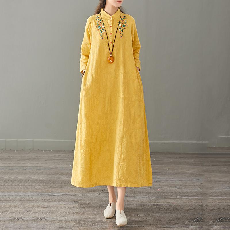 衣都格格2019夏季新款女短袖文艺刺绣立领提花打底棉麻长款连衣裙