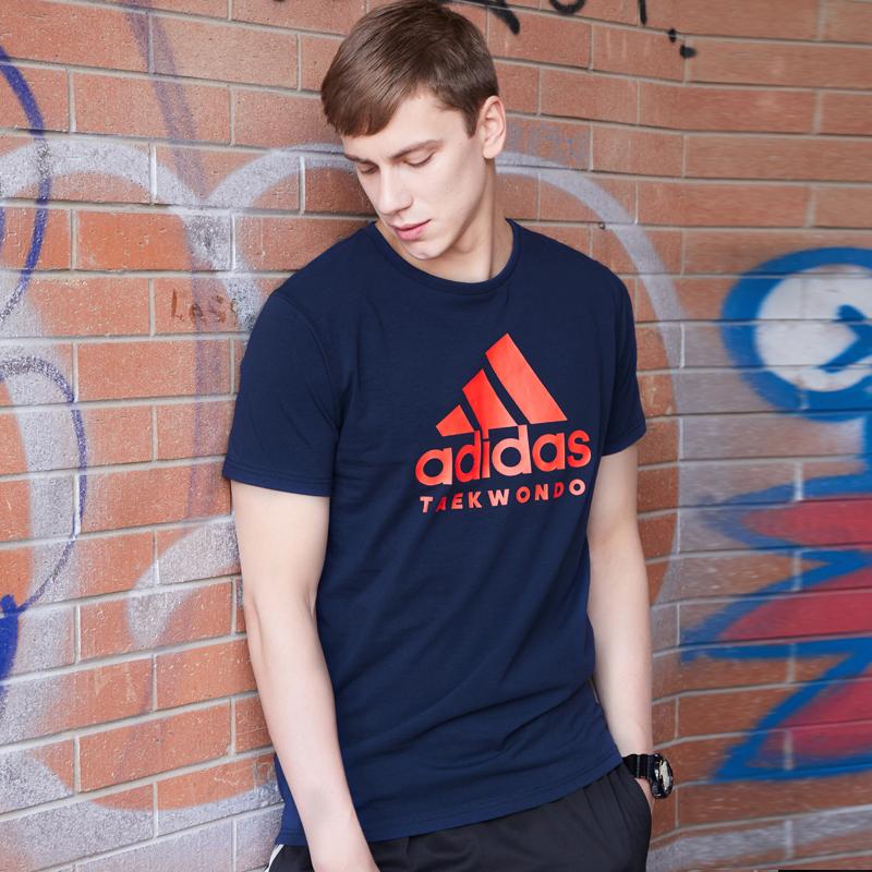 adidas阿迪达斯短袖男圆领透气运动半袖上衣 跑步T恤男夏季