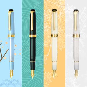 日本 SAILOR 写乐 新款 四季织11-1224 名月 雪椿 万叶14K钢笔