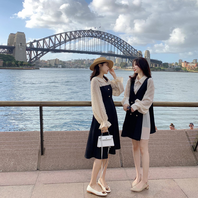 2019流行女装新款潮 娃娃领假两件法式复古裙闺蜜装连衣裙女春秋