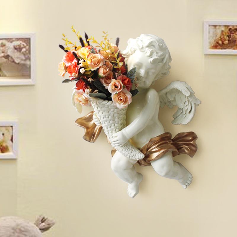 歐式花瓶樹脂壁掛花盆套裝家居裝飾品新婚房創意天使牆面掛件壁飾